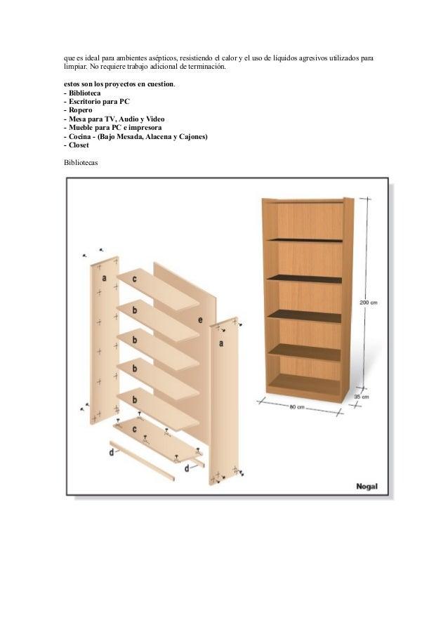 Proyectos para fabricar muebles con melamina for Como fabricar muebles de melamina pdf