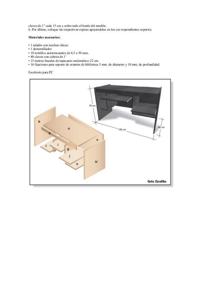 Proyectos para fabricar muebles con melamina for Manual para hacer muebles de melamina