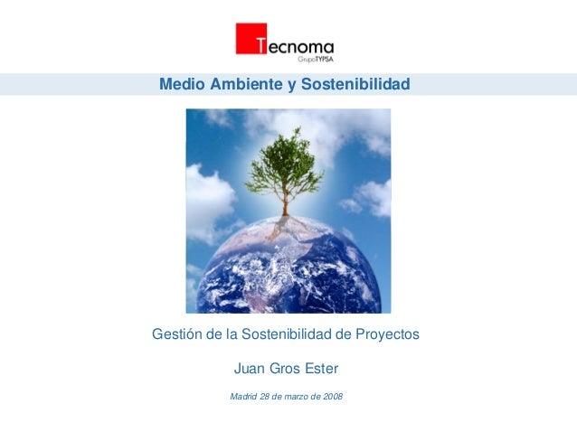 Medio Ambiente y Sostenibilidad Gestión de la Sostenibilidad de Proyectos Juan Gros Ester Madrid 28 de marzo de 2008