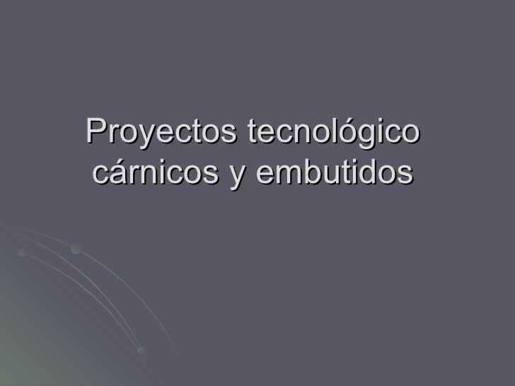 Proyectos tecnológico  cárnicos y embutidos