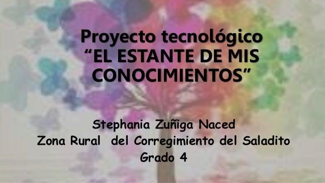 """Proyecto tecnológico """"EL ESTANTE DE MIS CONOCIMIENTOS"""" Stephania Zuñiga Naced Zona Rural del Corregimiento del Saladito Gr..."""
