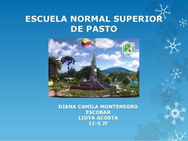 ESCUELA NORMAL SUPERIOR DE PASTO DIANA CAMILA MONTENEGRO ESCOBAR LIDYA ACOSTA 11-5 JT