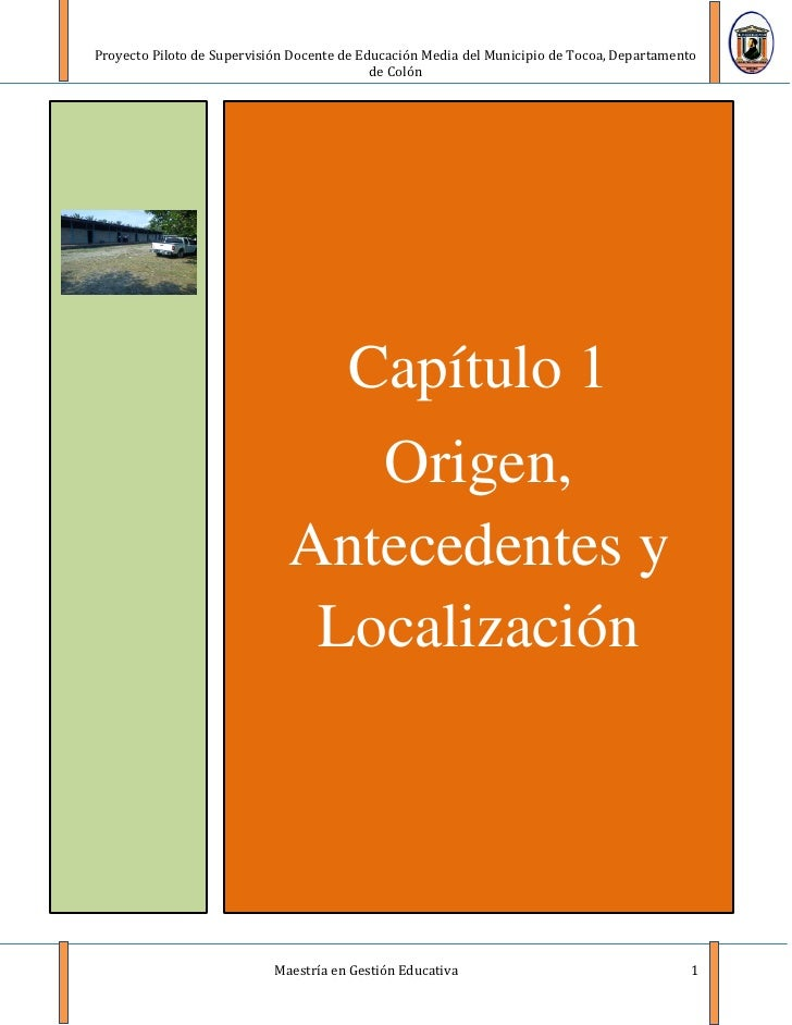 Proyecto Piloto de Supervisión Docente de Educación Media del Municipio de Tocoa, Departamento                            ...