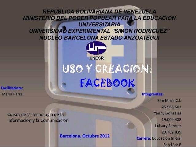 REPUBLICA BOLIVARIANA DE VENEZUELA            MINISTERIO DEL PODER POPULAR PARA LA EDUCACION                             U...