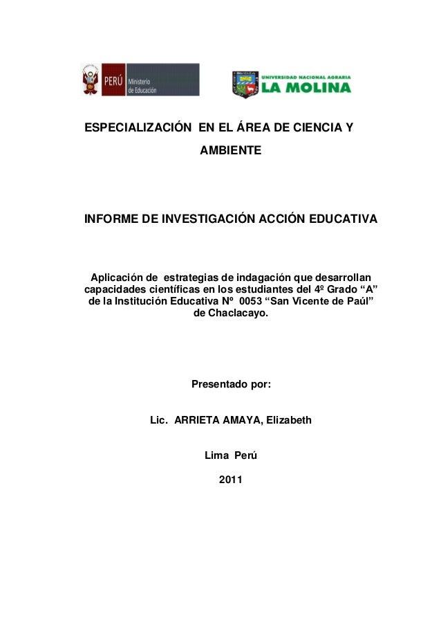 ESPECIALIZACIÓN EN EL ÁREA DE CIENCIA Y AMBIENTE INFORME DE INVESTIGACIÓN ACCIÓN EDUCATIVA Aplicación de estrategias de in...