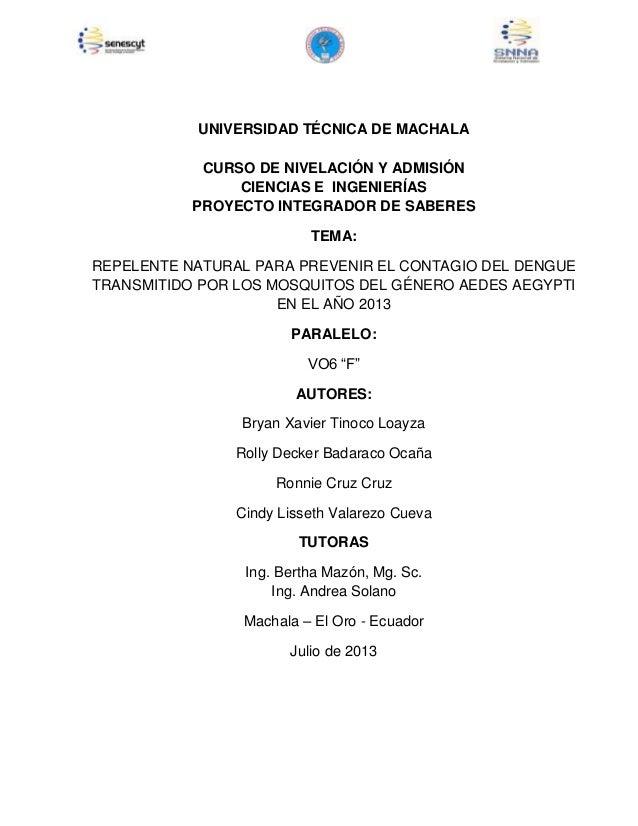 1 UNIVERSIDAD TÉCNICA DE MACHALA CURSO DE NIVELACIÓN Y ADMISIÓN CIENCIAS E INGENIERÍAS PROYECTO INTEGRADOR DE SABERES TEMA...