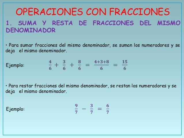 OPERACIONES CON FRACCIONES1. SUMA Y RESTA DE FRACCIONES DEL MISMODENOMINADOR• Para sumar fracciones del mismo denominador,...