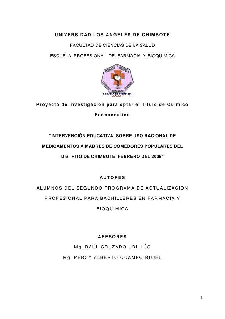 UNIVERSIDAD LOS ANGELES DE CHIMBOTE                       FACULTAD DE CIENCIAS DE LA SALUD          ESCUELA PROFESIONAL DE...