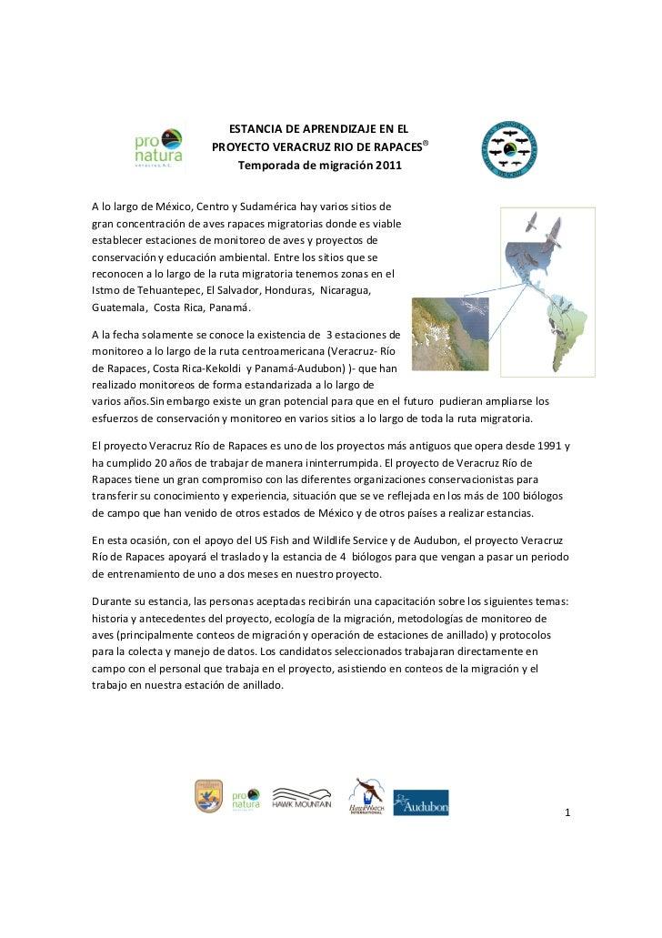 ESTANCIA DE APRENDIZAJE EN EL                        PROYECTO VERACRUZ RIO DE RAPACES®                            Temporad...