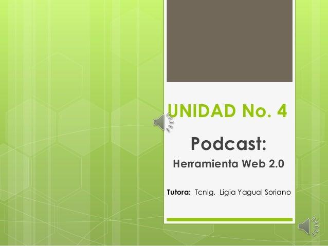UNIDAD No. 4 Podcast: Herramienta Web 2.0 Tutora: Tcnlg. Ligia Yagual Soriano