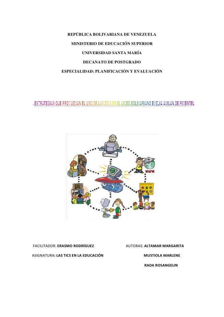 REPÚBLICA BOLIVARIANA DE VENEZUELA<br />MINISTERIO DE EDUCACIÓN SUPERIOR<br />UNIVERSIDAD SANTA MARÍA<br />DECANATO DE POS...