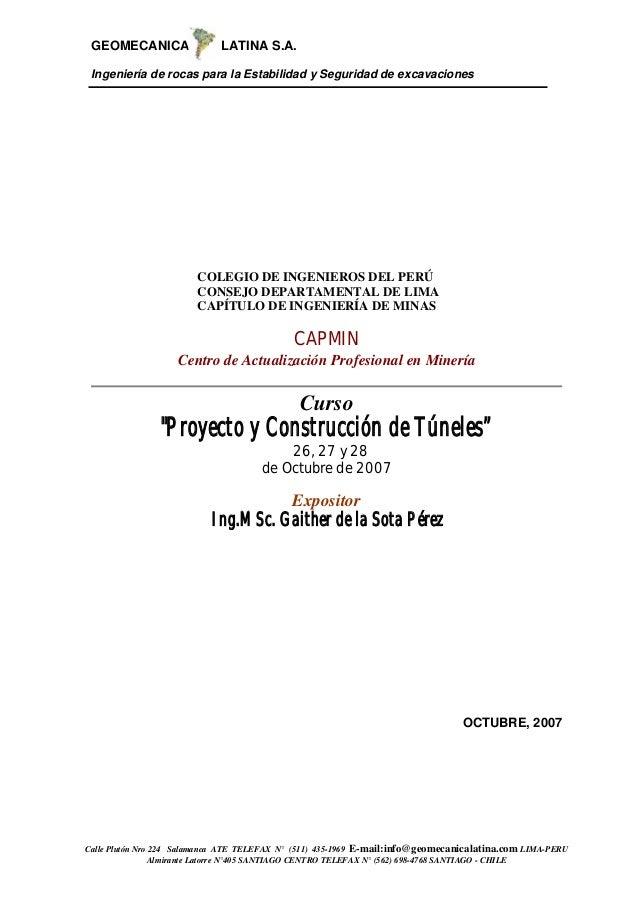 GEOMECANICA LATINA S.A.Ingeniería de rocas para la Estabilidad y Seguridad de excavacionesCalle Plutón Nro 224 Salamanca A...