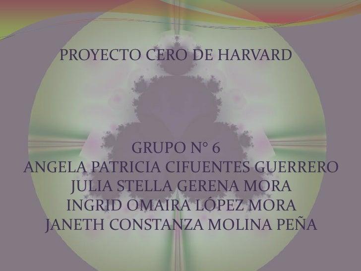PROYECTO CERO DE HARVARD<br />GRUPO N° 6ANGELA PATRICIA CIFUENTES GUERREROJULIA STELLA GERENA MORAINGRID OMAIRA LÓPEZ MORA...