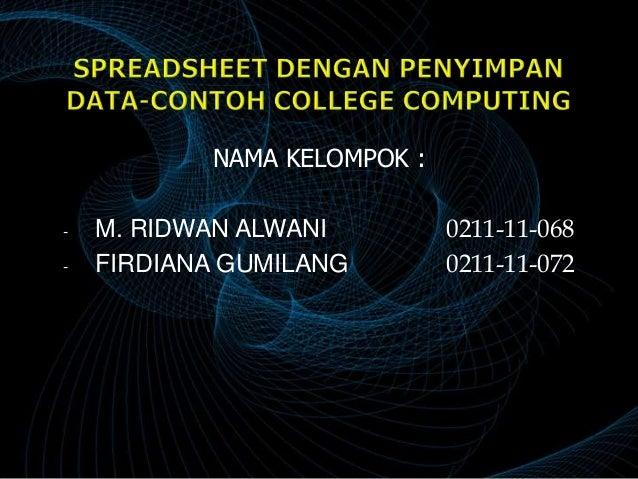 Proyek 8 spreadsheet dengan penyimpan data contoh college computing