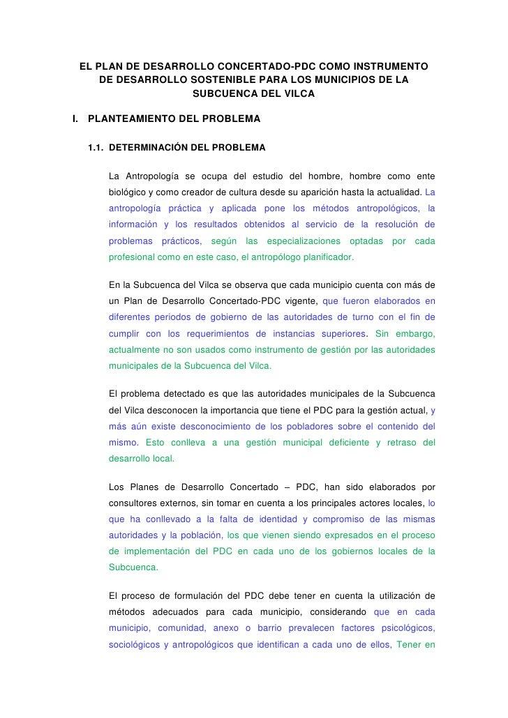 EL PLAN DE DESARROLLO CONCERTADO-PDC COMO INSTRUMENTO DE DESARROLLO SOSTENIBLE PARA LOS MUNICIPIOS DE LA SUBCUENCA DEL VIL...