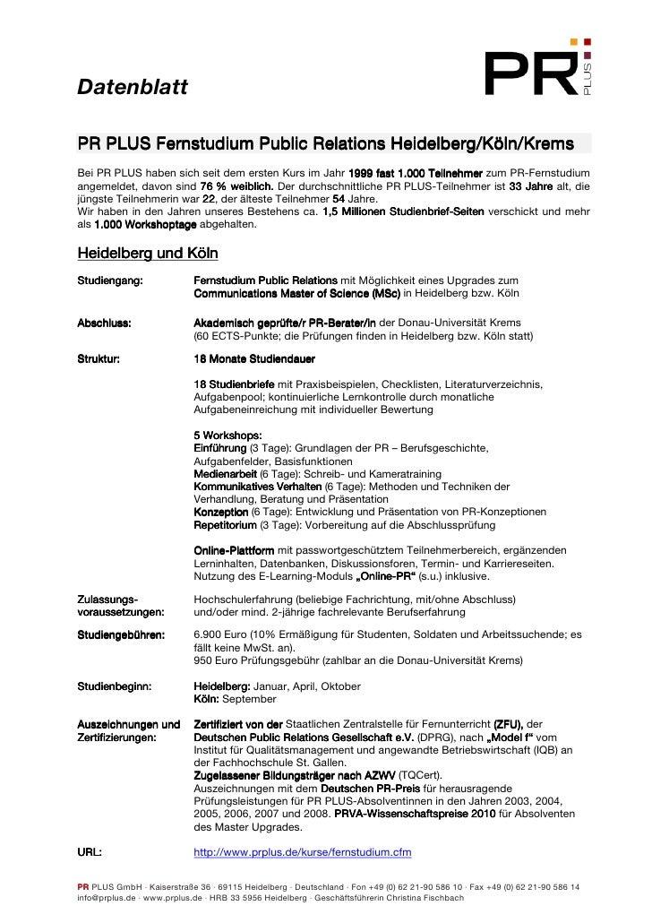 Datenblatt                                       Heidelberg/Köln/ PR PLUS Fernstudium Public Relations Heidelberg/Köln/Kre...