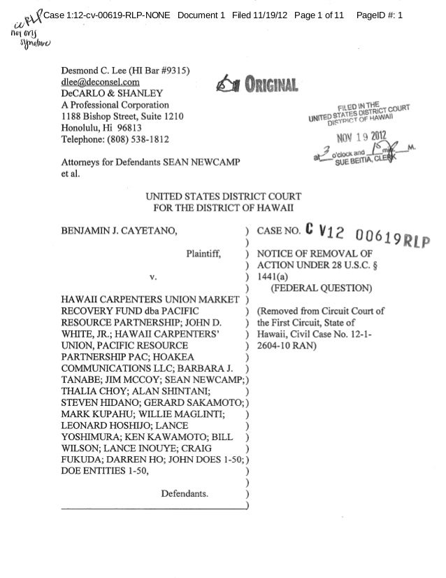Case 1:12-cv-00619-RLP-NONE Document 1 Filed 11/19/12 Page 1 of 11   PageID #: 1