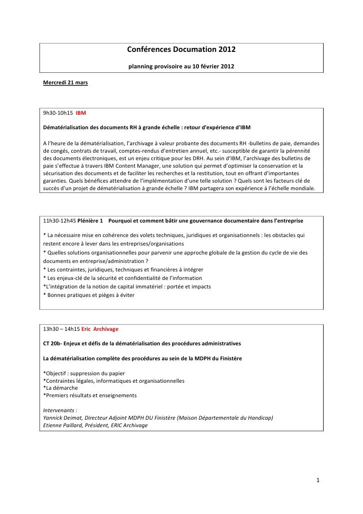 Conférences Documation 2012                                  planning provisoire au 10 février 2012Mercredi 21 mars9h30-10...