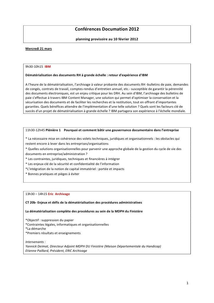 Pré-programme des conférences thématiques de Documation 2012