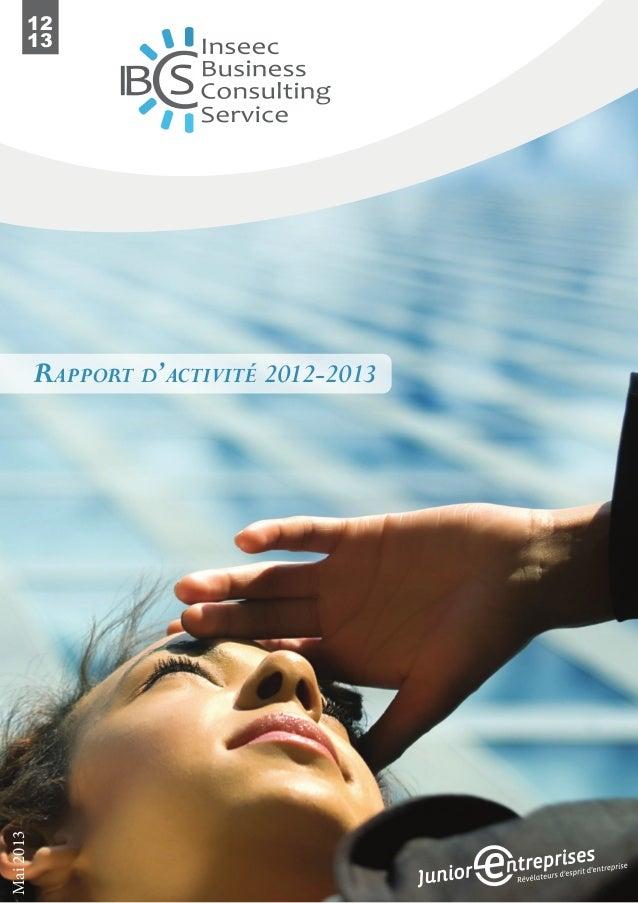 12 13 Rapport d'activité 2012-2013 Mai2013