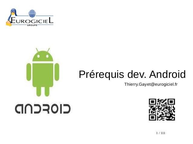Prérequis au développement google android