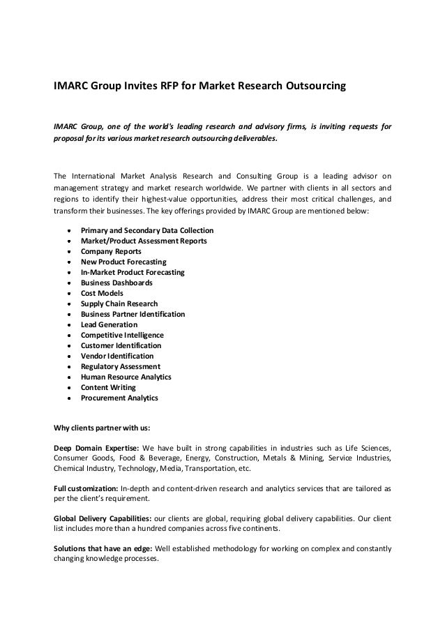 IMARC Group Invites RFP for Market Research Outsourcing