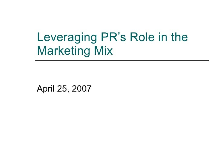 PR's Role In Integrated Marketing