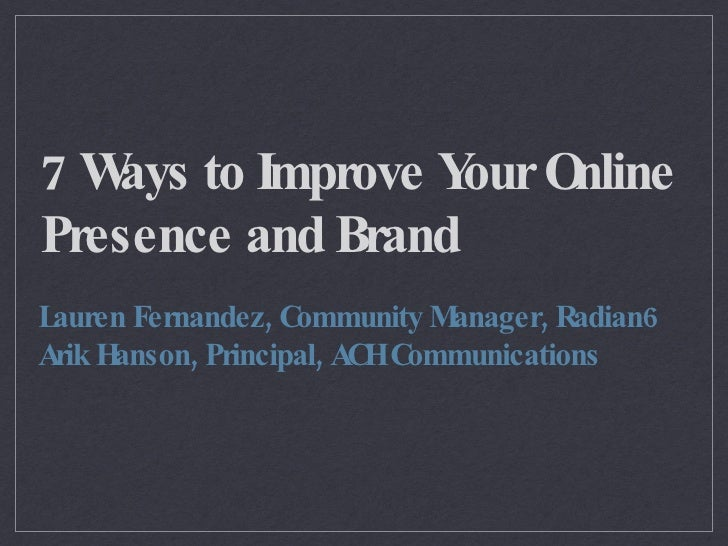 7 Tips to Improve your Online Brand