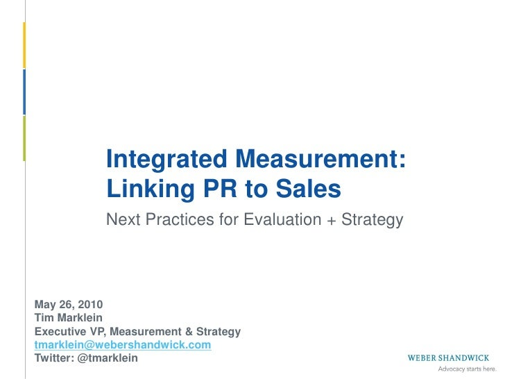Integrated Measurement: Linking PR to Sales