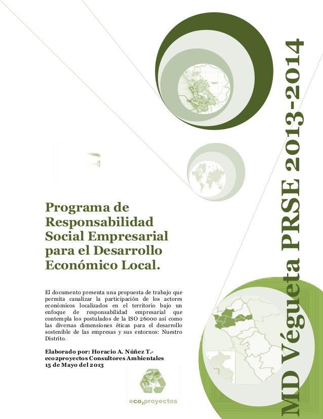 Programa de Responsabilidad Social Empresarial para el Desarrollo Económico Local-MDV 2013 2014