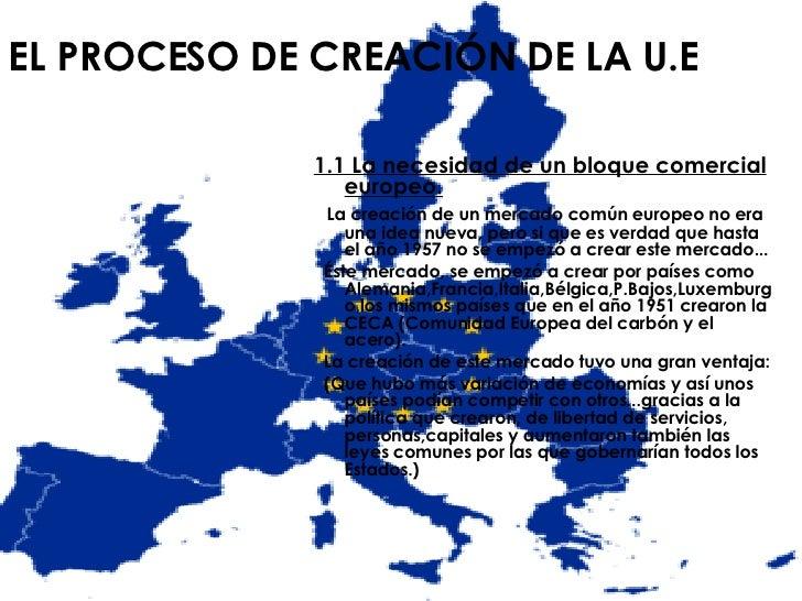EL PROCESO DE CREACIÓN DE LA U.E <ul><li>1.1 La necesidad de un bloque comercial europeo. </li></ul><ul><li>La creación de...