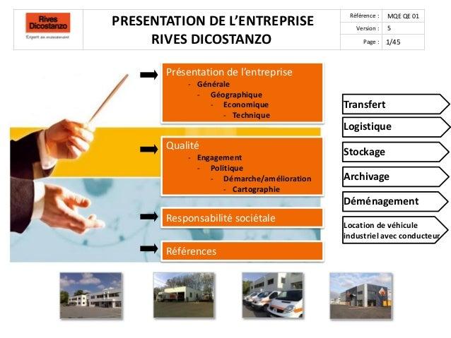 PRESENTATION DE L'ENTREPRISERIVES DICOSTANZORéférence : MQE QE 01Version : 5Page : 1/45Présentation de l'entreprise- Génér...