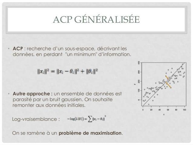 """ACP GÉNÉRALISÉE • ACP : recherche d'un sous-espace, décrivant les données, en perdant """"un minimum"""" d'information.  • Autre..."""