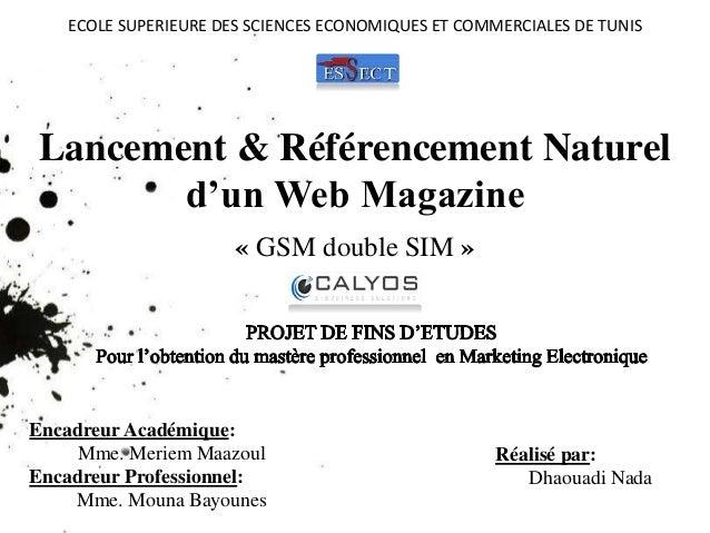 ECOLE SUPERIEURE DES SCIENCES ECONOMIQUES ET COMMERCIALES DE TUNIS  Lancement & Référencement Naturel  d'un Web Magazine  ...