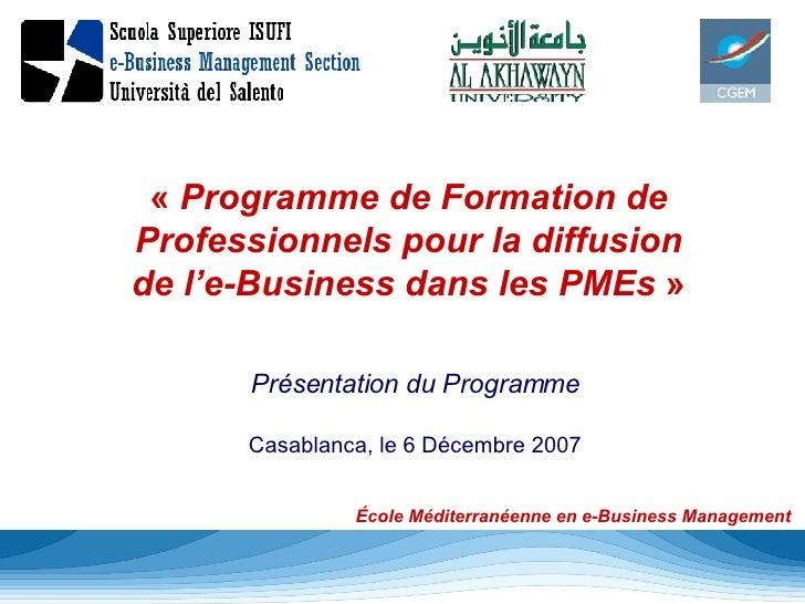 « Programme de Formation de Professionnels pour la diffusion de l'e-Business dans les PMEs  » Présentation du Programme C...