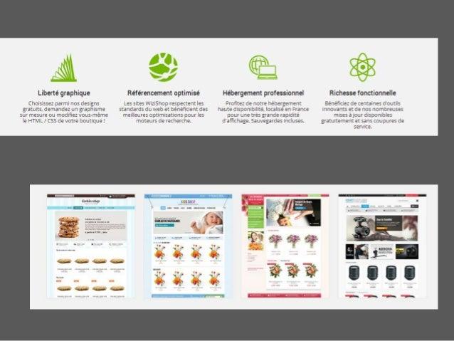 WIZI Shop • Plus de 300 fonctionnalités  • Présence sur les réseaux sociaux • Paiement par Pay Pal (peu adapté à la Suisse...