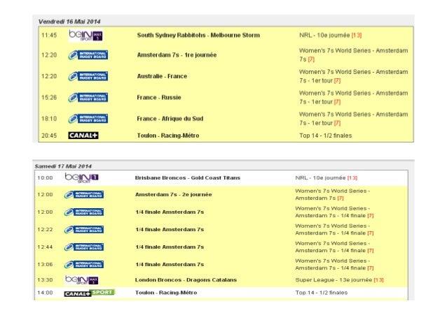 Programme rugby du 16 au 18 mai