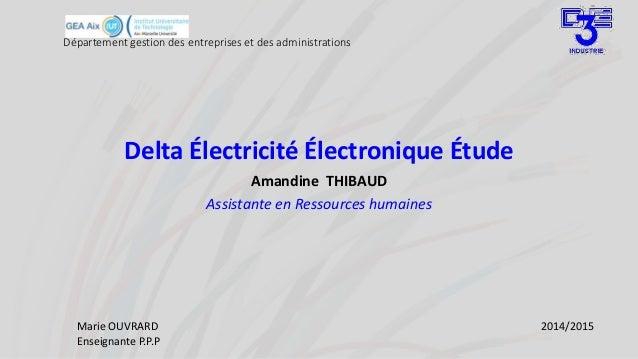 Département gestion des entreprises et des administrations Delta Électricité Électronique Étude Amandine THIBAUD Assistant...