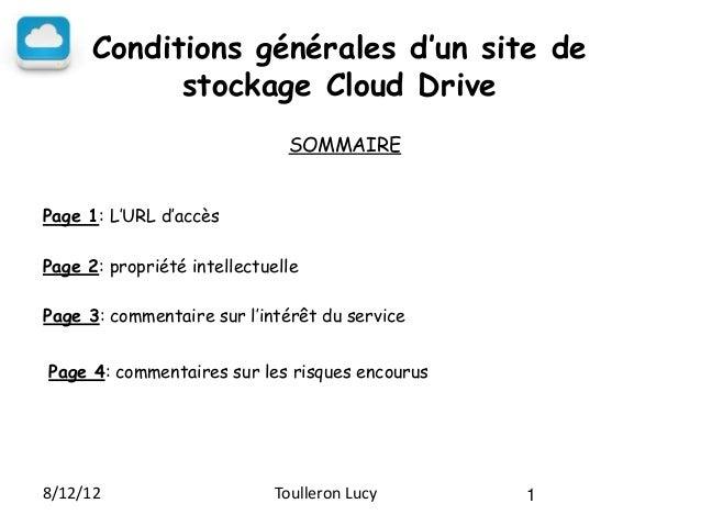 Conditions générales d'un site de            stockage Cloud Drive                              SOMMAIREPage 1: L'URL d'acc...