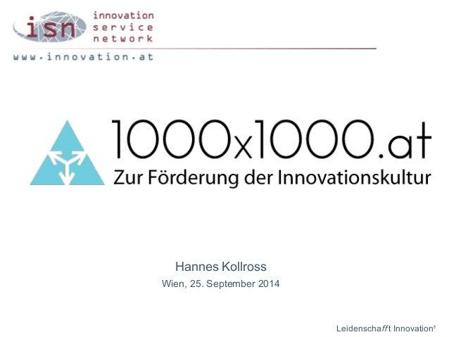 Hannes Kollross  Wien, 25. September 2014  Leidenschaff t Innovation®