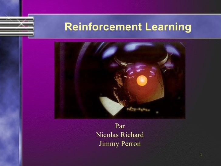 Reinforcement Learning Par Nicolas Richard Jimmy Perron