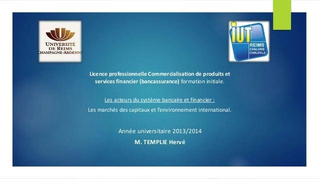 Licence professionnelle Commercialisation de produits et services financier (bancassurance) formation initiale. Les acteur...