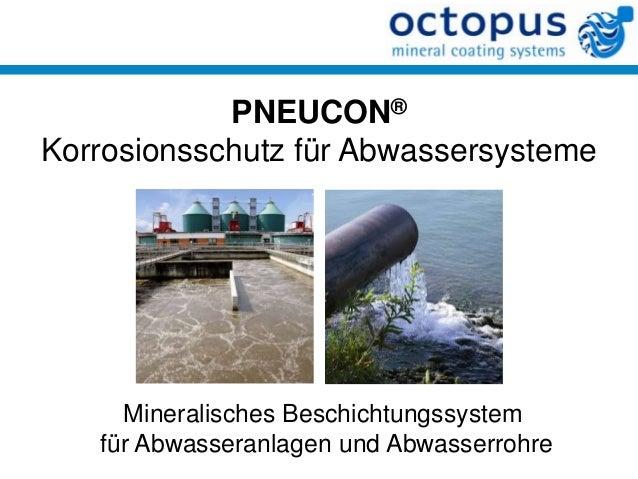 PNEUCON® Korrosionsschutz für Abwassersysteme  Mineralisches Beschichtungssystem für Abwasseranlagen und Abwasserrohre