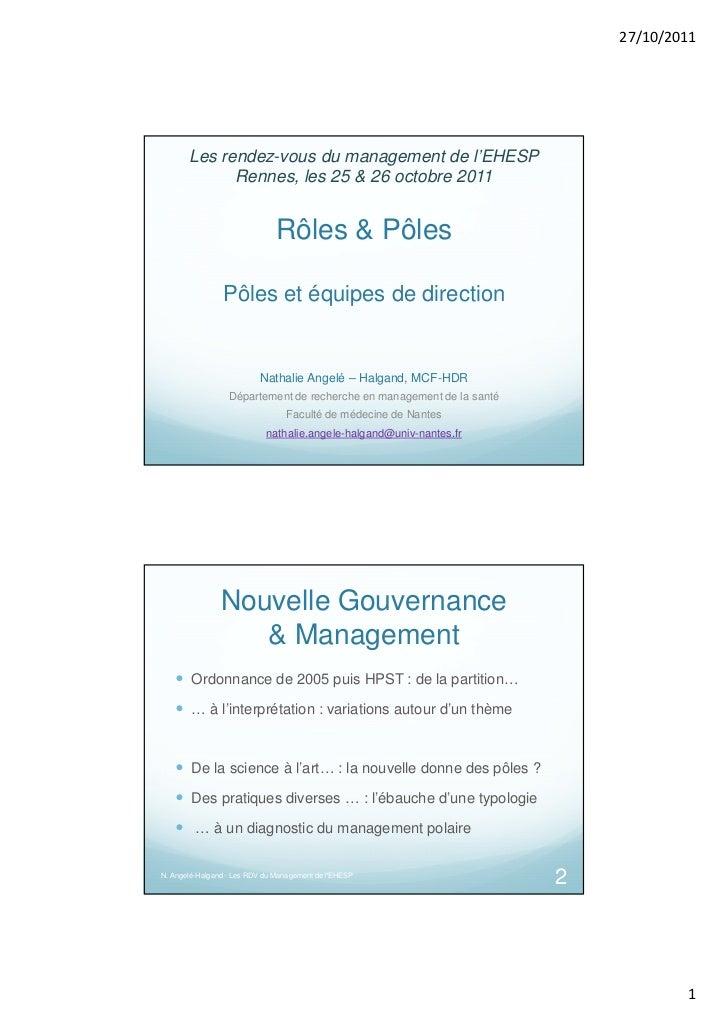 27/10/2011       Les rendez-vous du management de l'EHESP             Rennes, les 25 & 26 octobre 2011                    ...