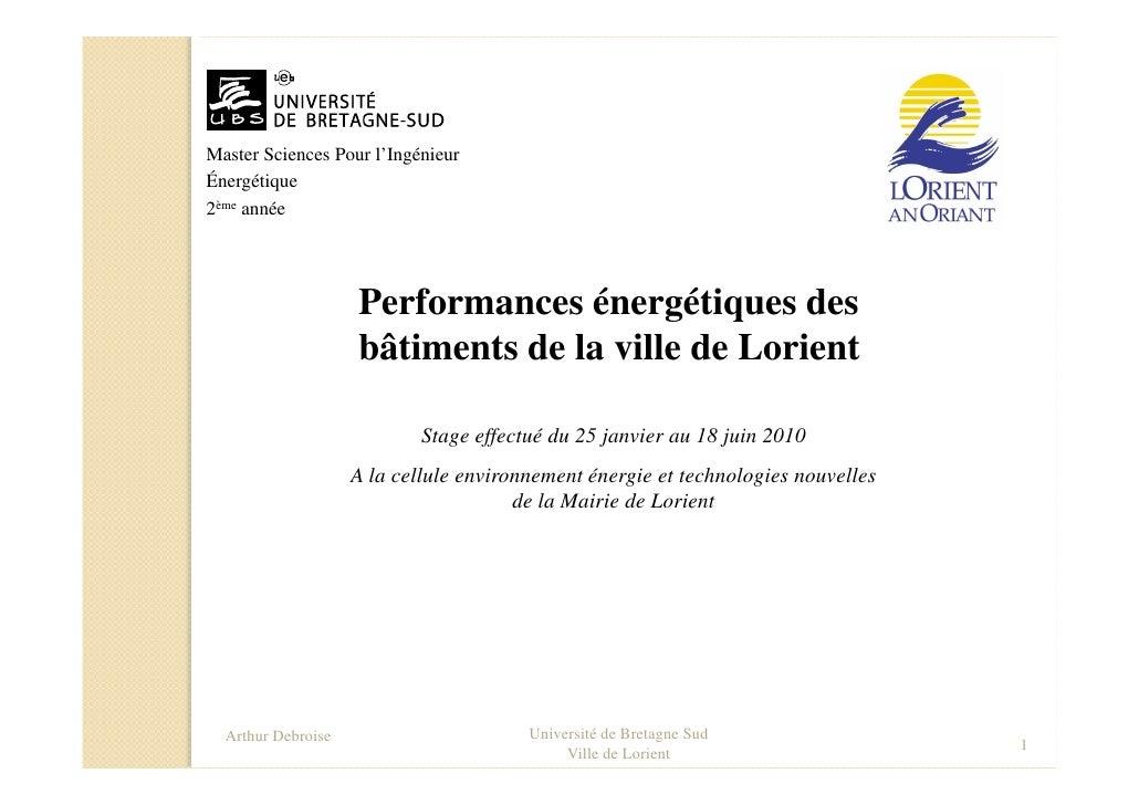 Master Sciences Pour l'Ingénieur Énergétique 2ème année                         Performances énergétiques des             ...