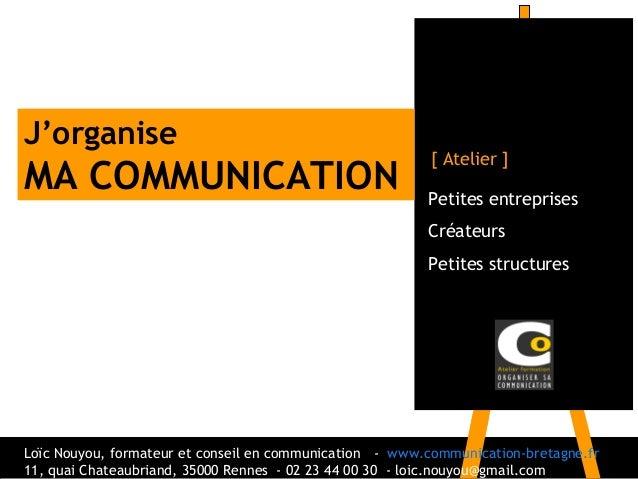 Petites entreprisesCréateursPetites structures[ Atelier ]J'organiseMA COMMUNICATIONLoïc Nouyou, formateur et conseil en co...