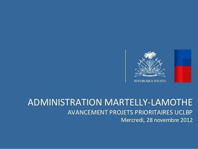 ADMINISTRATION MARTELLY-LAMOTHE       AVANCEMENT PROJETS PRIORITAIRES UCLBP                      Mercredi, 28 novembre 2012