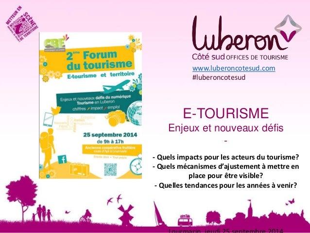 www.luberoncotesud.com  #luberoncotesud  E-TOURISME  Enjeux et nouveaux défis  -  - Quels impacts pour les acteurs du tour...