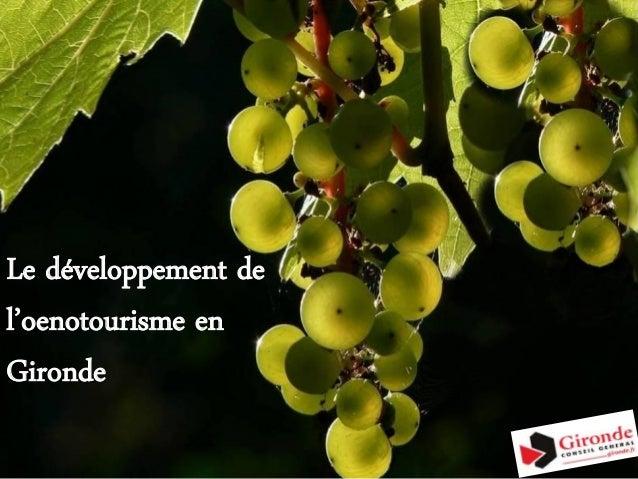 """Dispositif du département de la Gironde en faveur de l'Oenotourisme"""""""