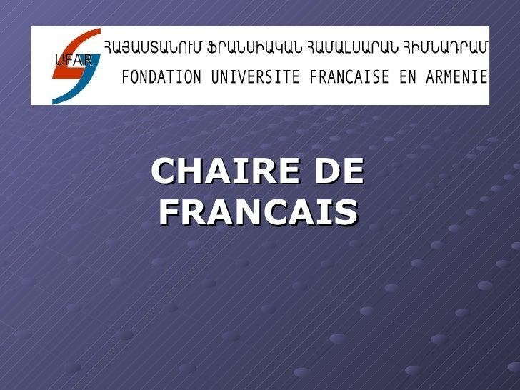 CHAIRE DE FRANCAIS